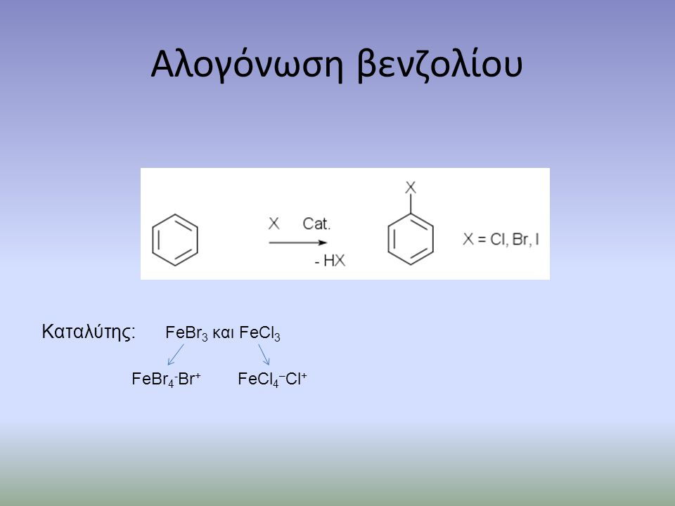 Αλογόνωση βενζολίου Καταλύτης: FeBr3 και FeCl3 FeBr4-Br+ FeCl4–Cl+