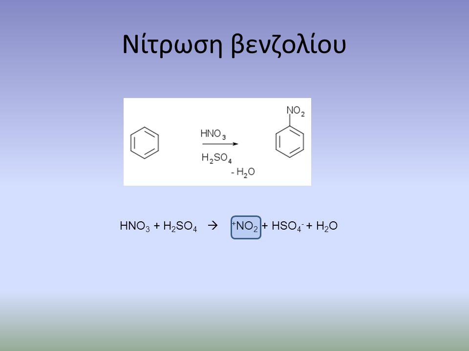 Νίτρωση βενζολίου HNO3 + H2SO4  +NO2 + HSO4- + H2O
