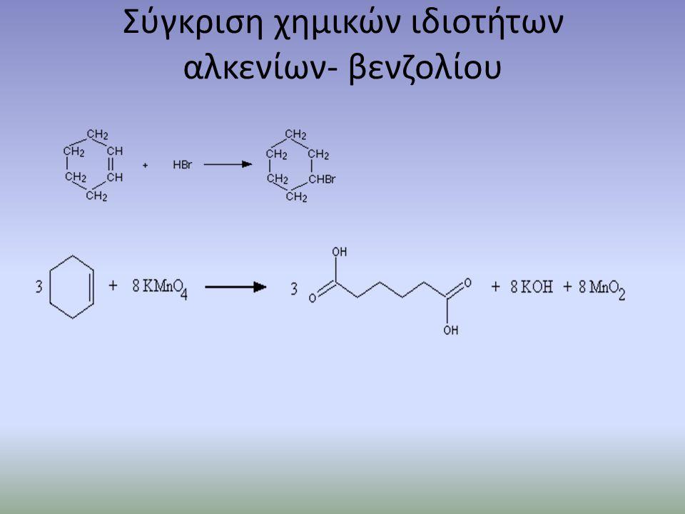 Σύγκριση χημικών ιδιοτήτων αλκενίων- βενζολίου