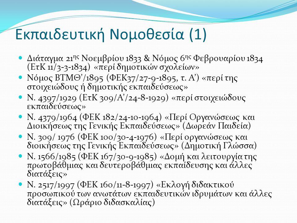 Εκπαιδευτική Νομοθεσία (1)