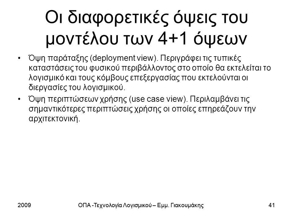 Οι διαφορετικές όψεις του μοντέλου των 4+1 όψεων