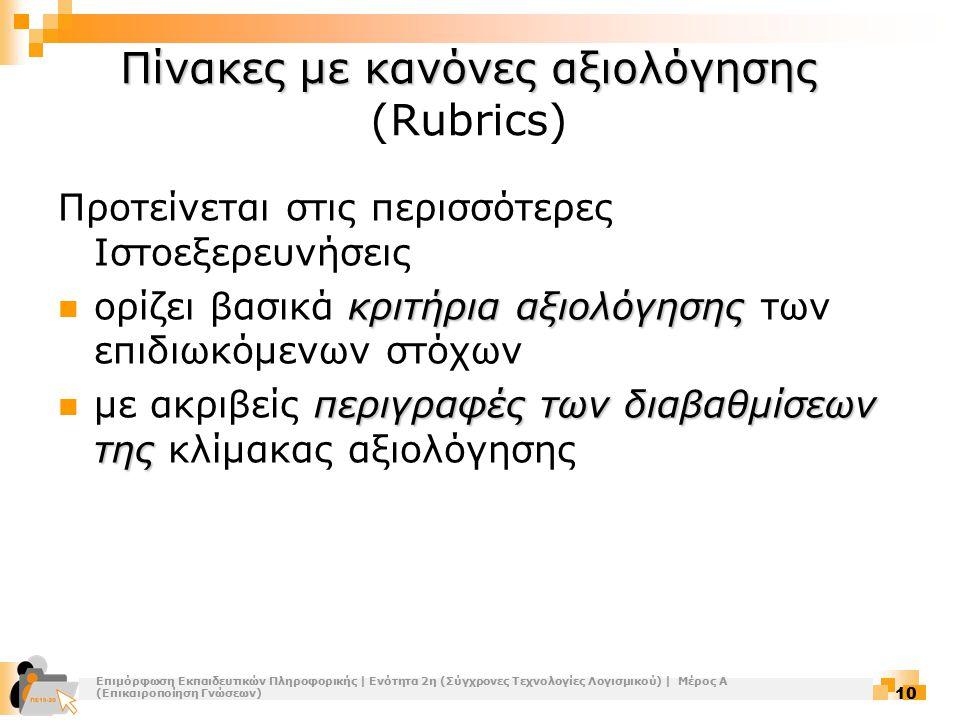 Πίνακες με κανόνες αξιολόγησης (Rubrics)