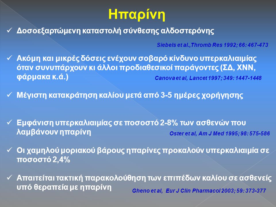 Ηπαρίνη Δοσοεξαρτώμενη καταστολή σύνθεσης αλδοστερόνης