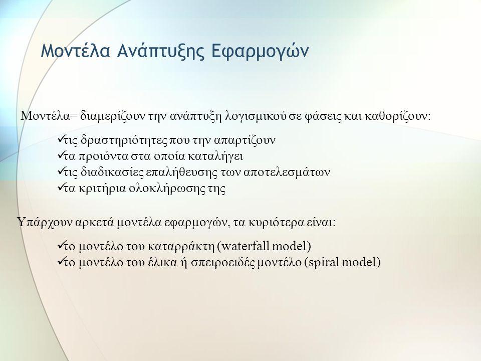 Mοντέλα Ανάπτυξης Εφαρμογών