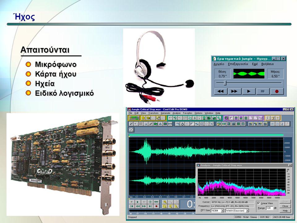 Ήχος Απαιτούνται Μικρόφωνο Κάρτα ήχου Ηχεία Ειδικό λογισμικό