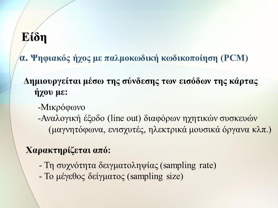 Είδη α. Ψηφιακός ήχος με παλμοκωδική κωδικοποίηση (PCM)