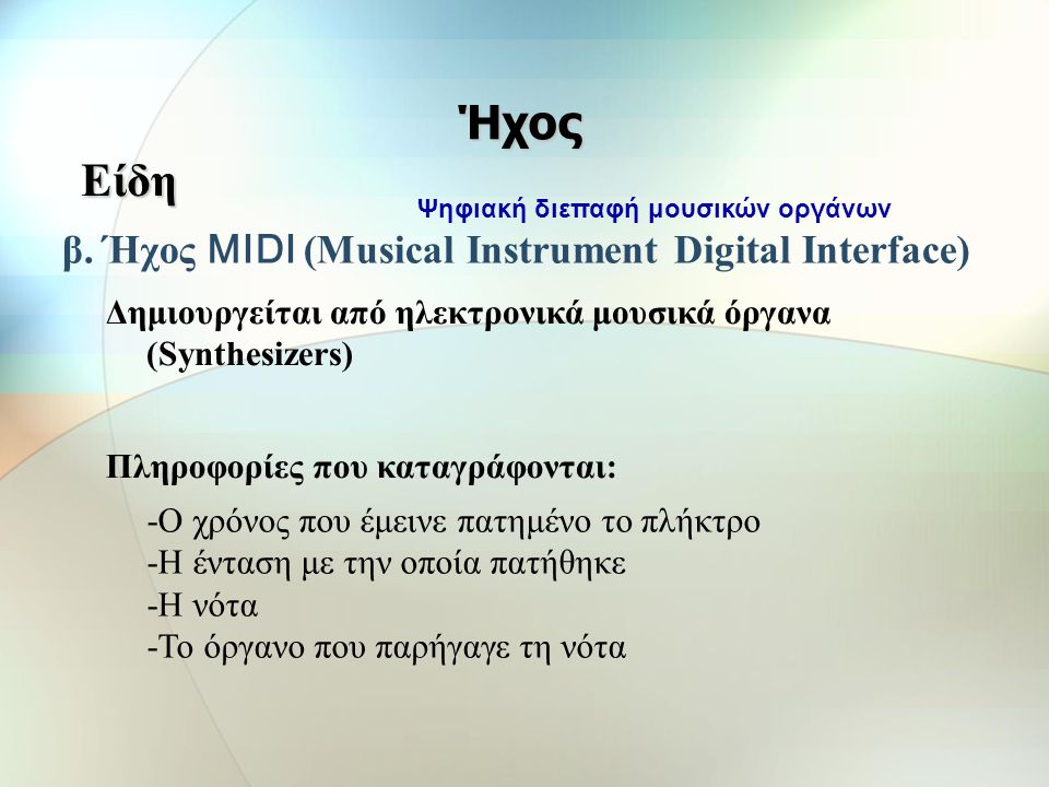 β. Ήχος MIDI (Musical Instrument Digital Interface)