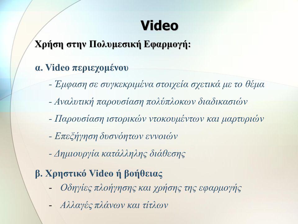 Video Χρήση στην Πολυμεσική Εφαρμογή: α. Video περιεχομένου
