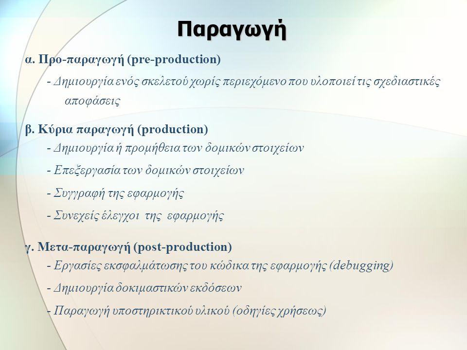 Παραγωγή α. Προ-παραγωγή (pre-production)