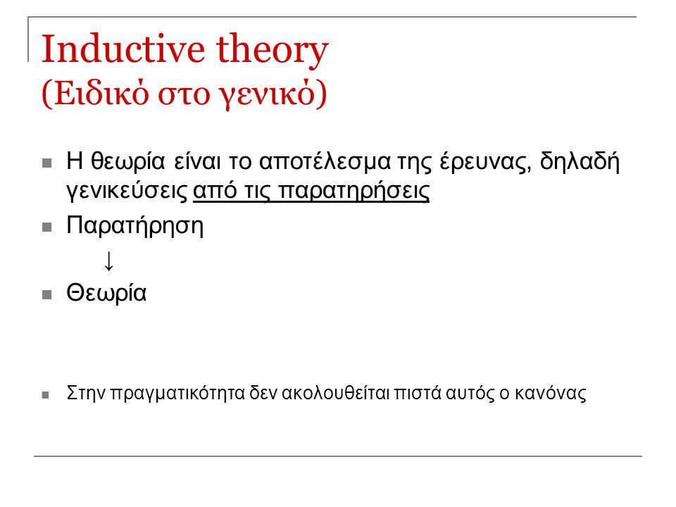 Inductive theory (Ειδικό στο γενικό)