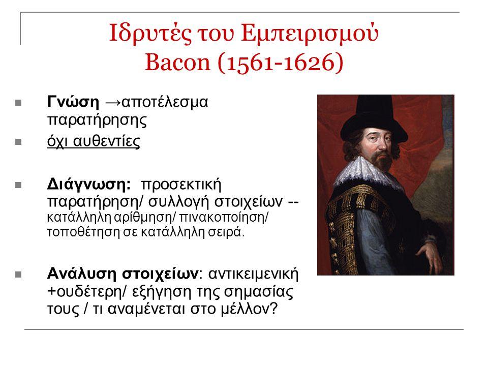 Ιδρυτές του Εμπειρισμού Bacon (1561-1626)