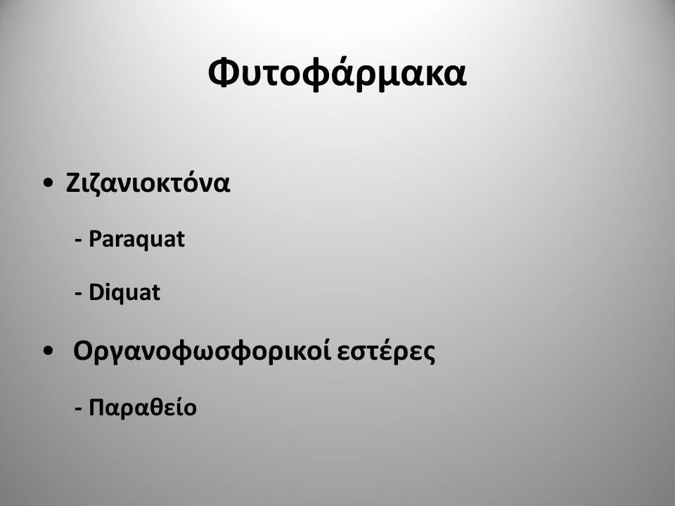 Φυτοφάρμακα Ζιζανιοκτόνα Οργανοφωσφορικοί εστέρες - Paraquat - Diquat