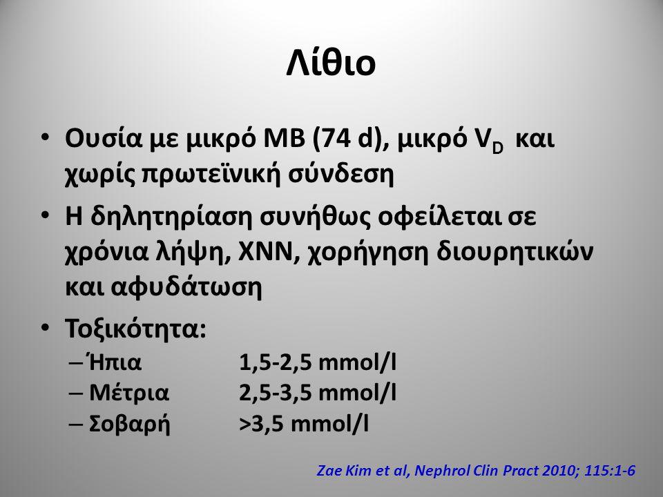 Λίθιο Ουσία με μικρό ΜΒ (74 d), μικρό VD και χωρίς πρωτεϊνική σύνδεση