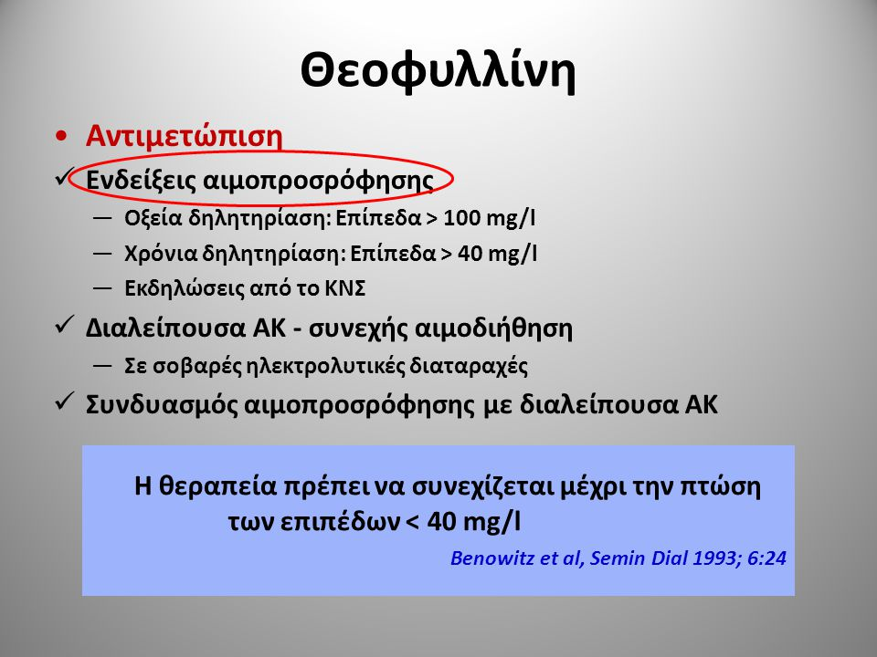 Θεοφυλλίνη Αντιμετώπιση Ενδείξεις αιμοπροσρόφησης