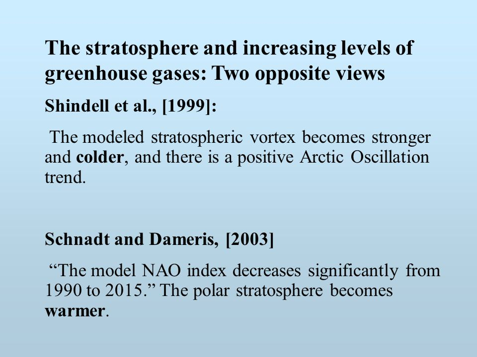 The stratosphere and increasing levels of greenhouse gases: Two opposite views