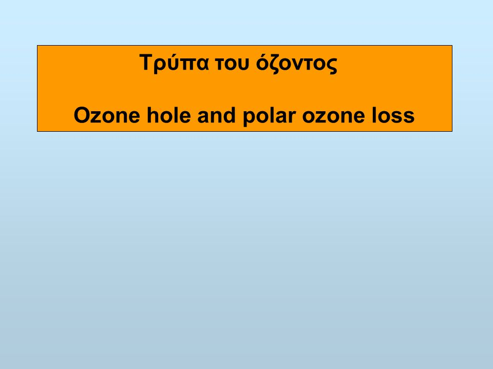 Ozone hole and polar ozone loss
