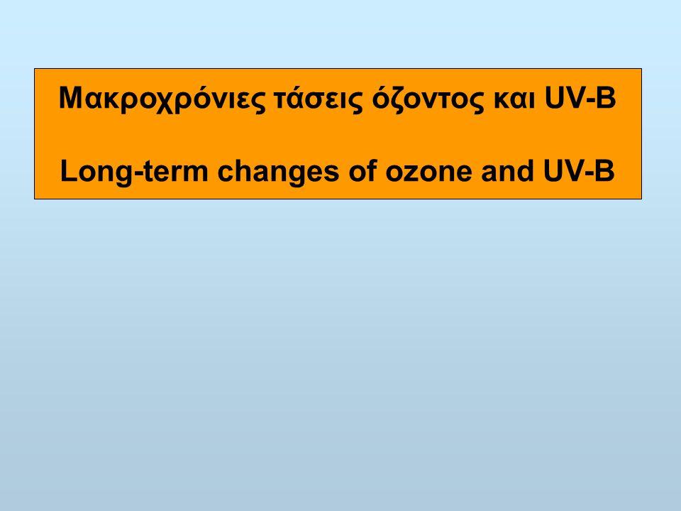 Μακροχρόνιες τάσεις όζοντος και UV-B