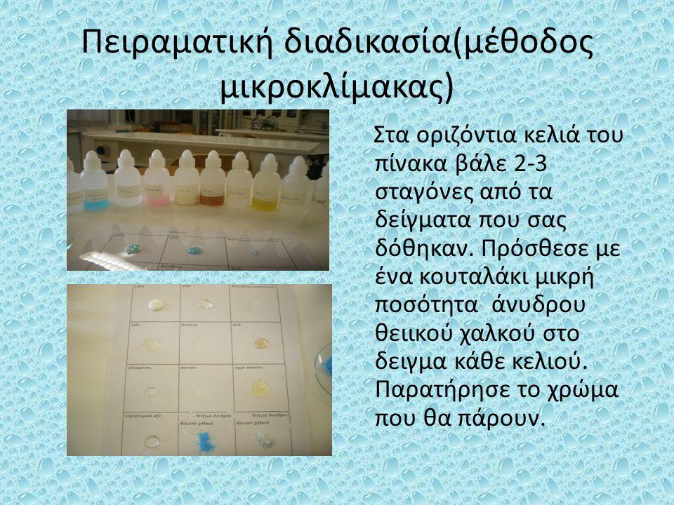 Πειραματική διαδικασία(μέθοδος μικροκλίμακας)
