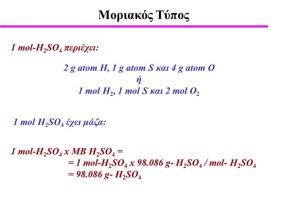 2 g atom Η, 1 g atom S και 4 g atom Ο