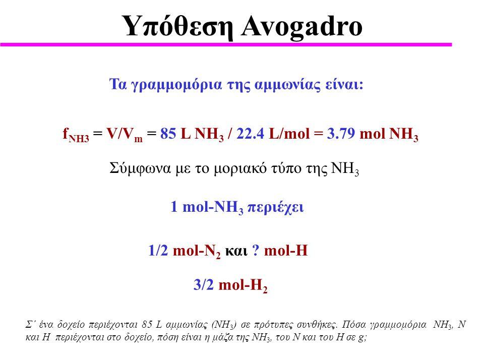 Υπόθεση Avogadro Τα γραμμομόρια της αμμωνίας είναι: