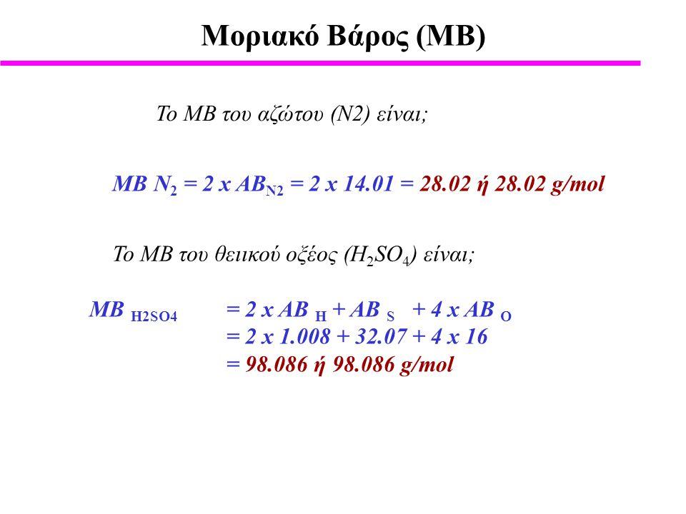 Μοριακό Βάρος (ΜΒ) Το ΜΒ του αζώτου (Ν2) είναι;