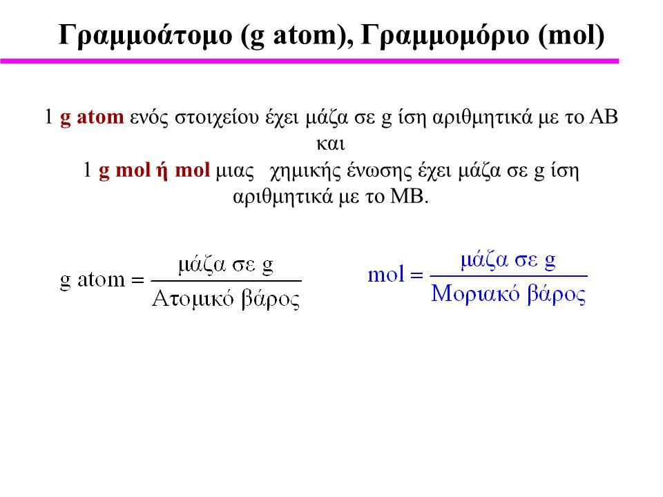 Γραμμοάτομο (g atom), Γραμμομόριο (mol)