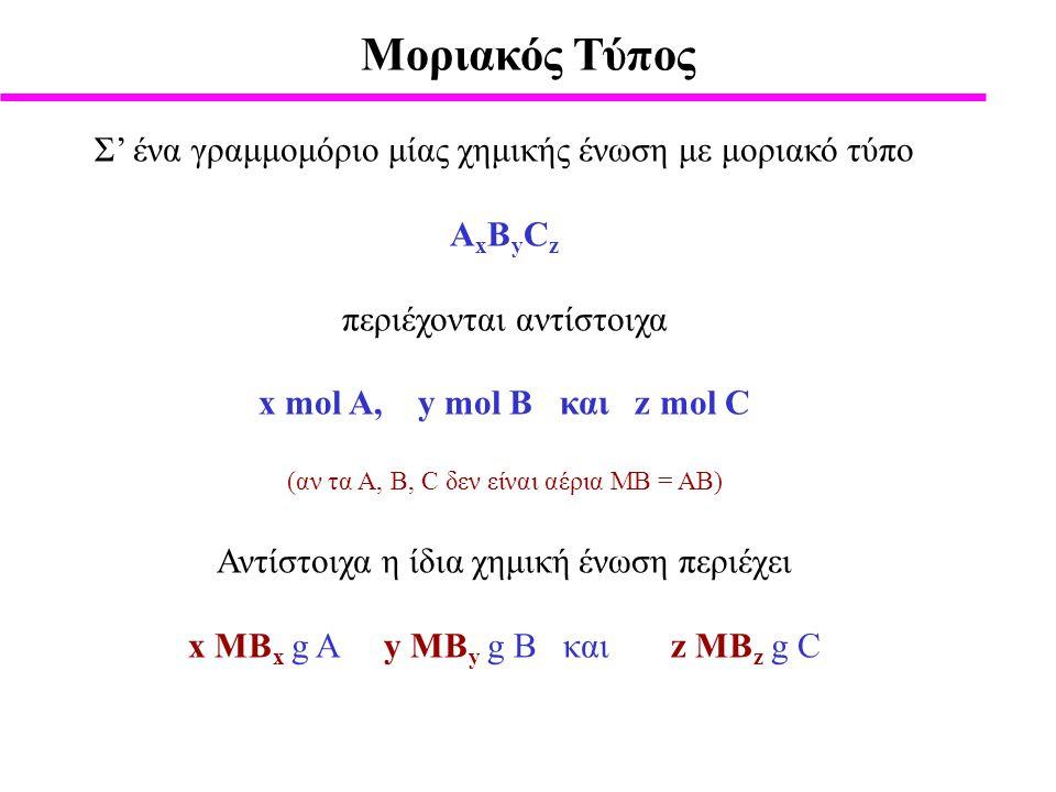 Moριακός Τύπος Σ' ένα γραμμομόριο μίας χημικής ένωση με μοριακό τύπο