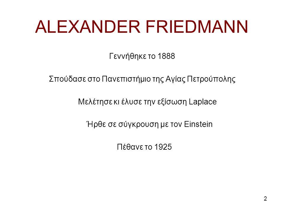 ALEXANDER FRIEDMANN Γεννήθηκε το 1888