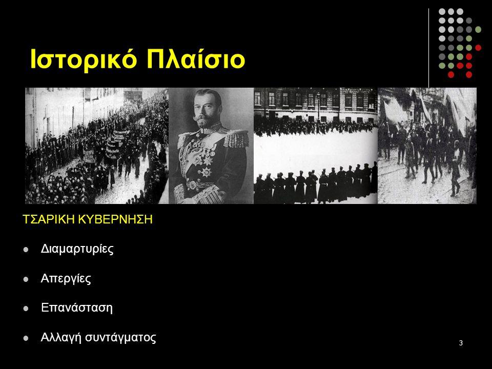 Ιστορικό Πλαίσιο ΤΣΑΡΙΚΗ ΚΥΒΕΡΝΗΣΗ Διαμαρτυρίες Απεργίες Επανάσταση