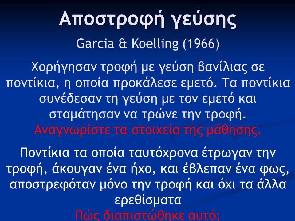 Αποστροφή γεύσης Garcia & Koelling (1966)