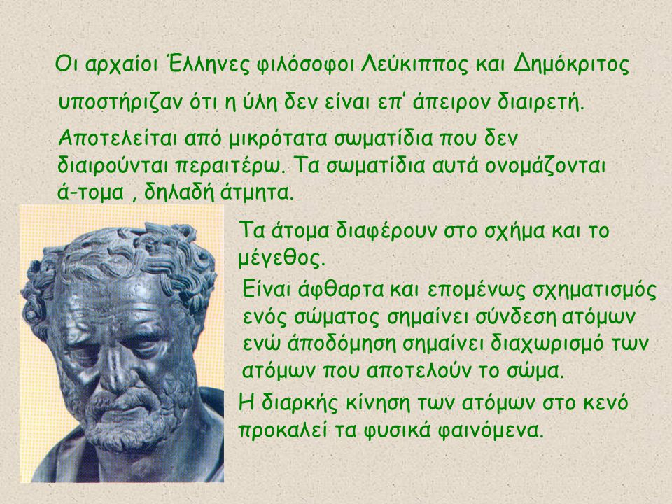 Οι αρχαίοι Έλληνες φιλόσοφοι Λεύκιππος και Δημόκριτος