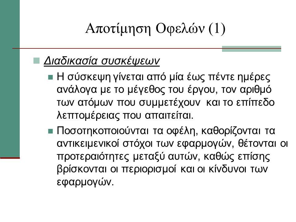Αποτίμηση Οφελών (1) Διαδικασία συσκέψεων