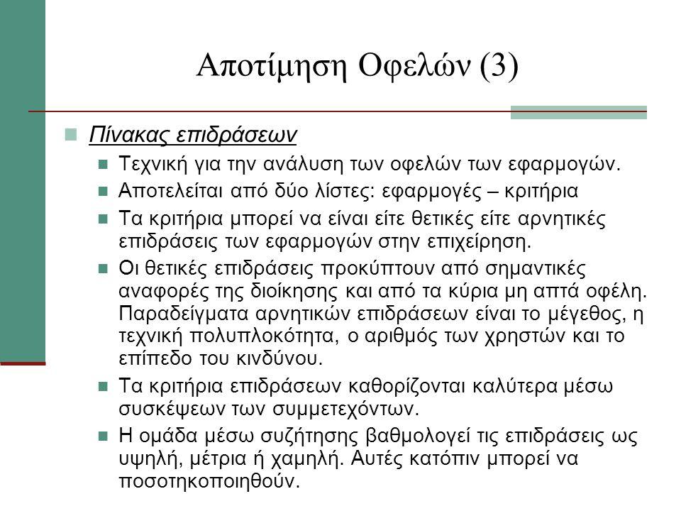 Αποτίμηση Οφελών (3) Πίνακας επιδράσεων
