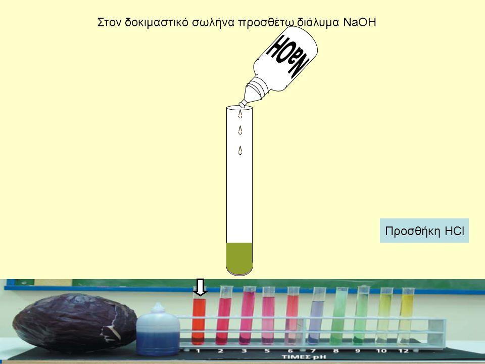 Στον δοκιμαστικό σωλήνα προσθέτω διάλυμα NaOH