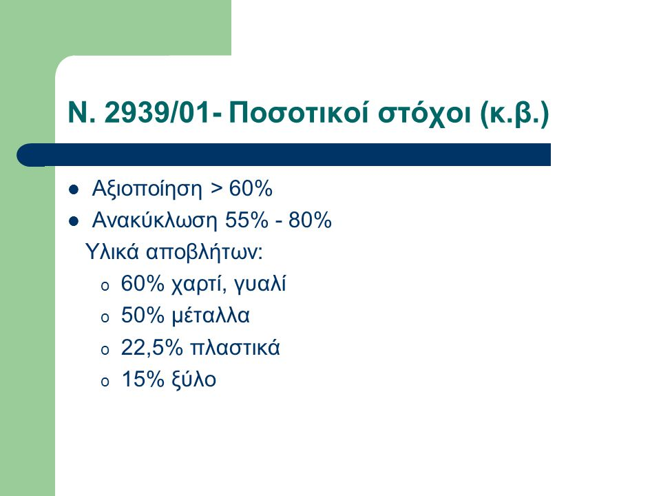 Ν. 2939/01- Ποσοτικοί στόχοι (κ.β.)