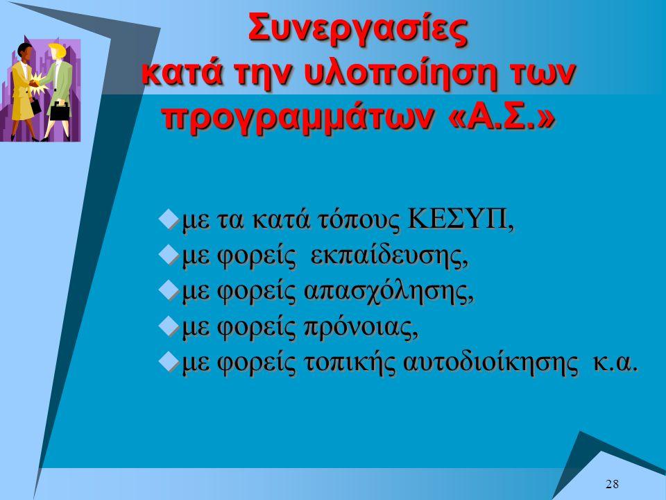 Συνεργασίες κατά την υλοποίηση των προγραμμάτων «Α.Σ.»