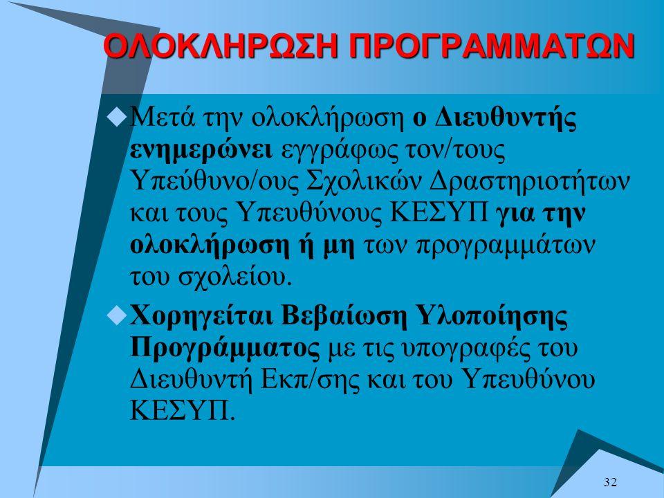 ΟΛΟΚΛΗΡΩΣΗ ΠΡΟΓΡΑΜΜΑΤΩΝ