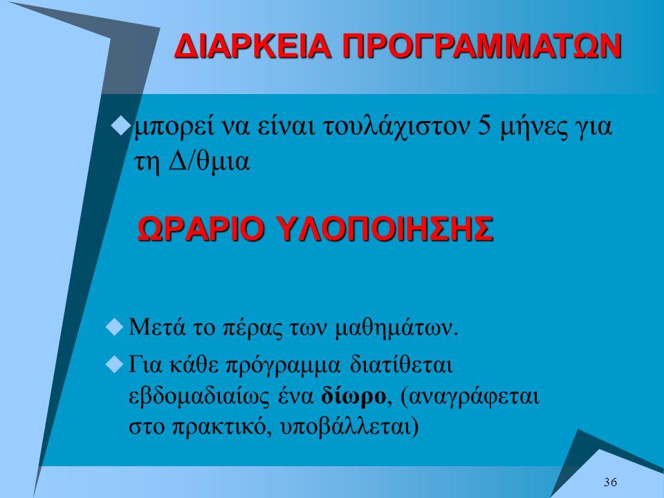 ΔΙΑΡΚΕΙΑ ΠΡΟΓΡΑΜΜΑΤΩΝ