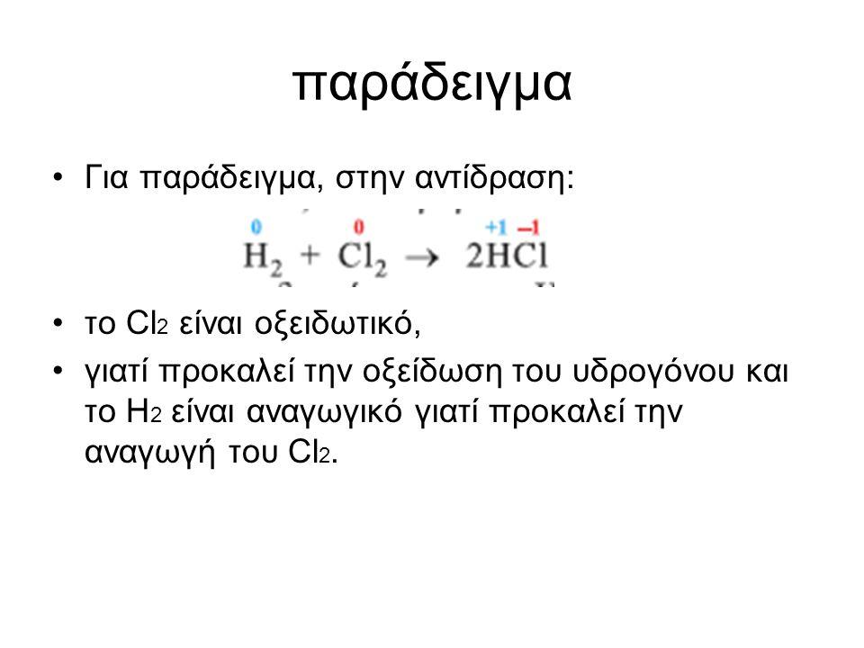 παράδειγµα Για παράδειγµα, στην αντίδραση: το Cl2 είναι οξειδωτικό,