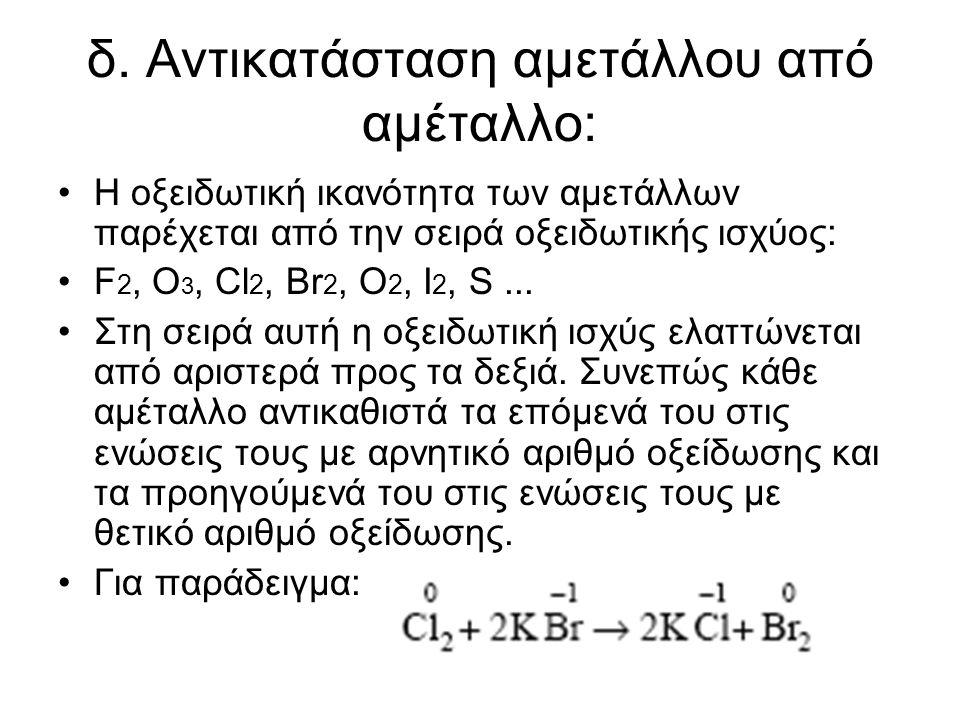 δ. Αντικατάσταση αµετάλλου από αµέταλλο: