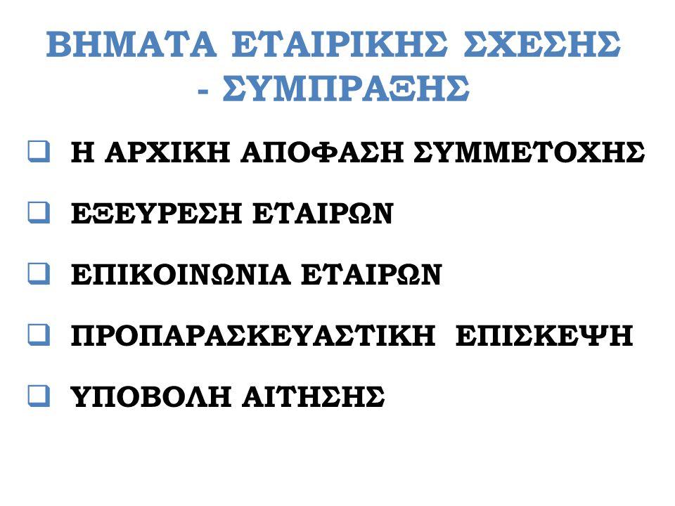 ΒΗΜΑΤΑ ΕΤΑΙΡΙΚΗΣ ΣΧΕΣΗΣ - ΣΥΜΠΡΑΞΗΣ