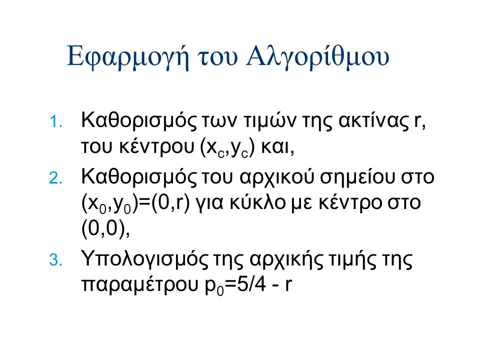 Εφαρμογή του Αλγορίθμου