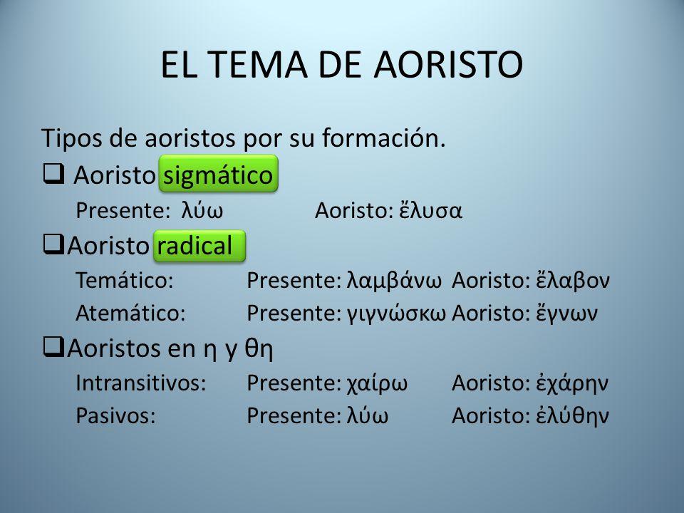 EL TEMA DE AORISTO Tipos de aoristos por su formación.