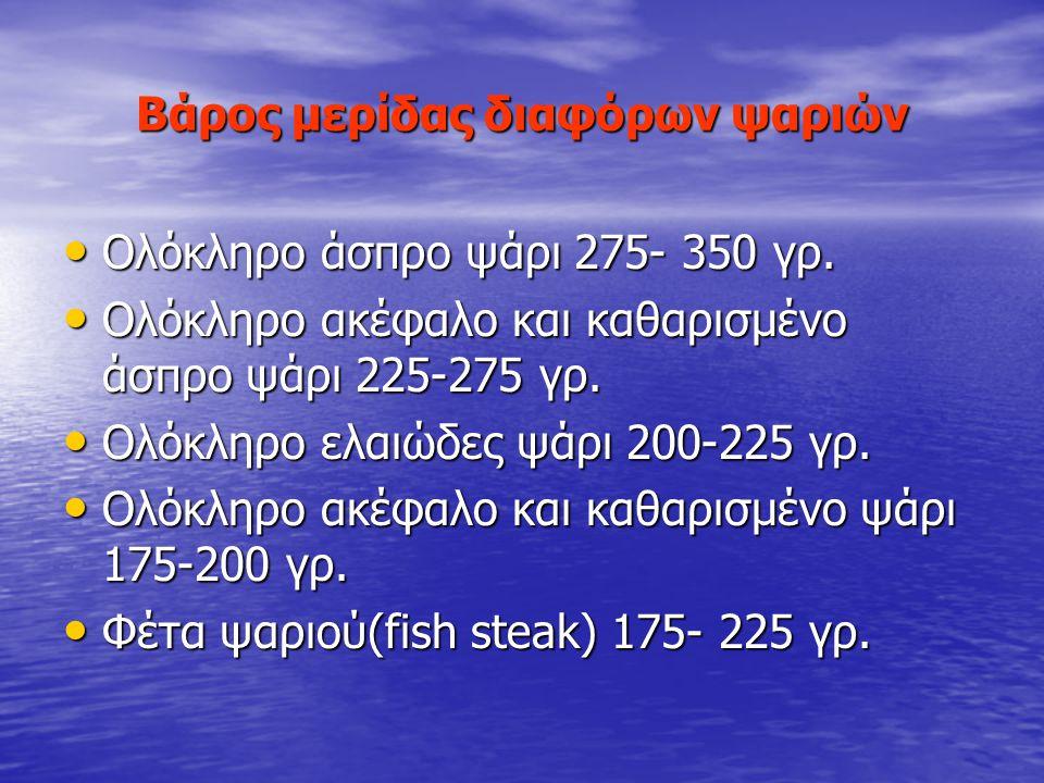 Βάρος μερίδας διαφόρων ψαριών