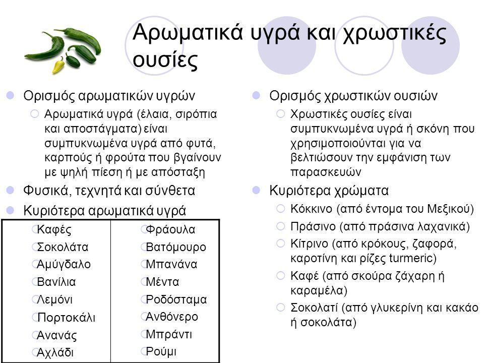 Αρωματικά υγρά και χρωστικές ουσίες