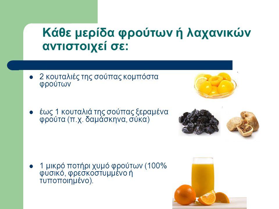 Κάθε μερίδα φρούτων ή λαχανικών αντιστοιχεί σε: