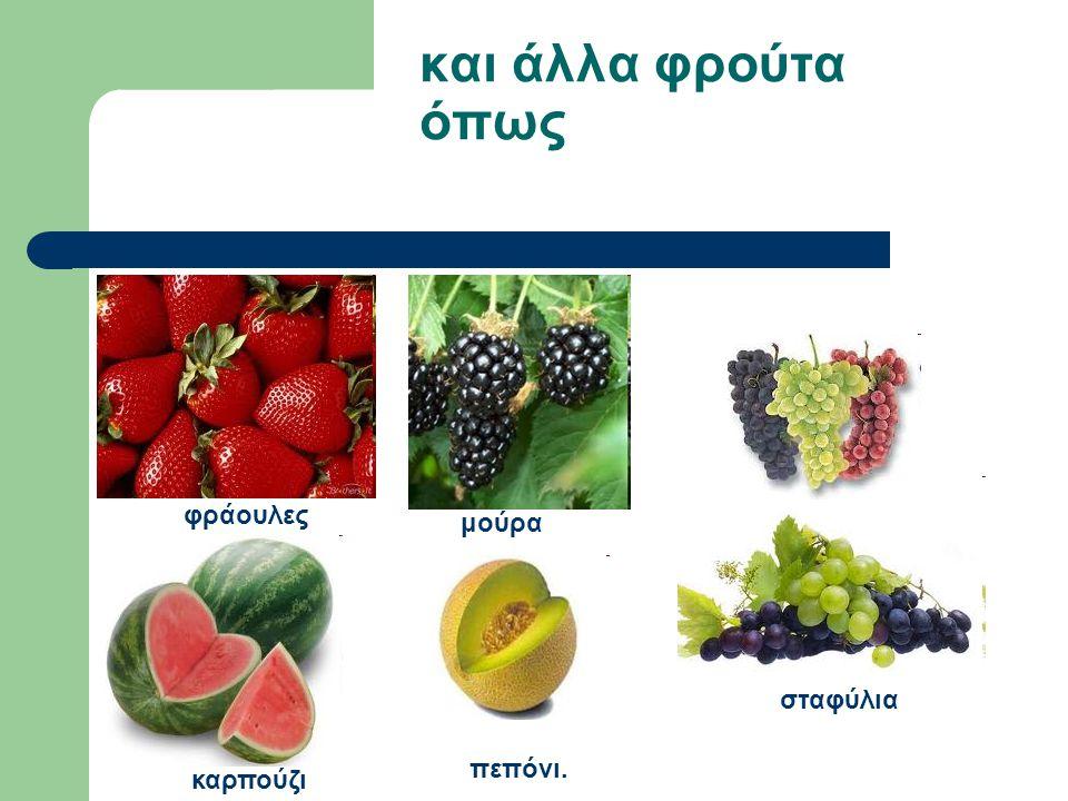 και άλλα φρούτα όπως φράουλες μούρα σταφύλια πεπόνι. καρπούζι