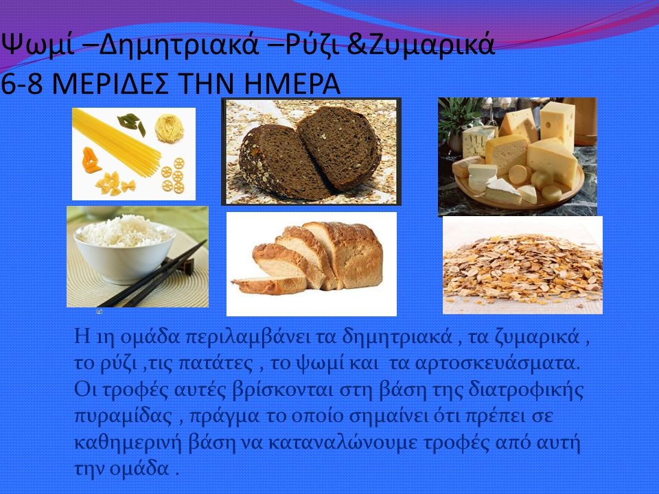 Ψωμί –Δημητριακά –Ρύζι &Ζυμαρικά 6-8 ΜΕΡΙΔΕΣ ΤΗΝ ΗΜΕΡΑ
