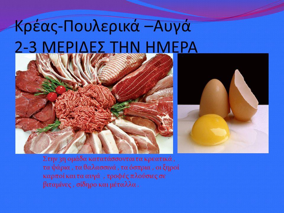 Κρέας-Πουλερικά –Αυγά 2-3 ΜΕΡΙΔΕΣ ΤΗΝ ΗΜΕΡΑ