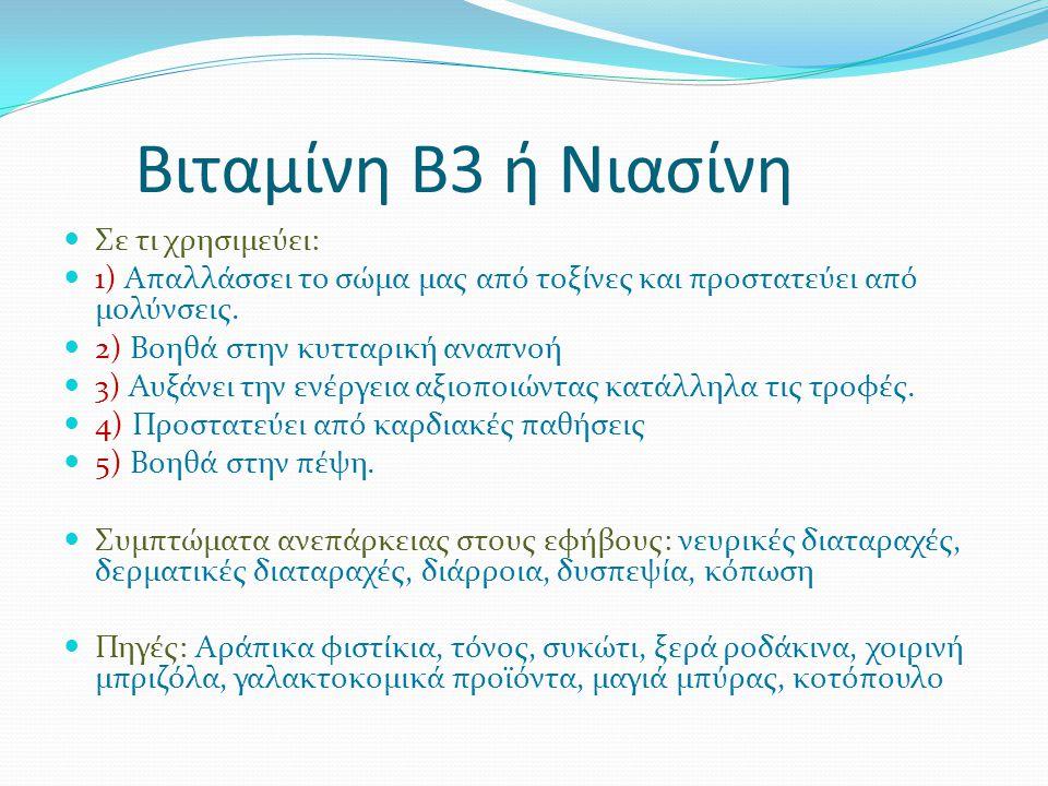 Βιταμίνη Β3 ή Νιασίνη Σε τι χρησιμεύει: